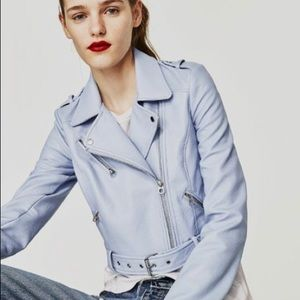 Zara cropped biker jacket in sky pale blue size s